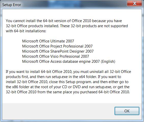 office 2010 64 bit setup